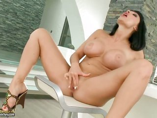 Aletta Ocean with large meatballs does striptease one time previously this babe sticks toys in her vagina