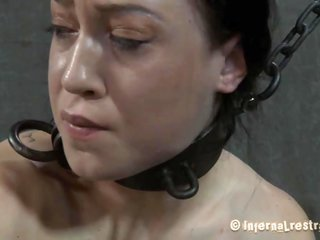 Gagged adorable gets her racks bounded besides clamped