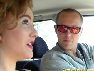 German redhead stops car 'cuz slapping