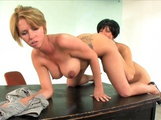 savory call girl is kneeling on the table the whole time sucking in on butthole