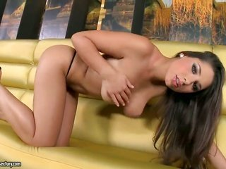 brunette Zafira with juicy pantoons reveals it all on camera