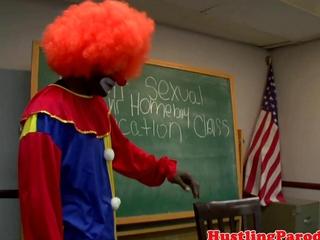 latin chick blows clown