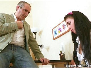 Old daddy urge to fuck budding brunette