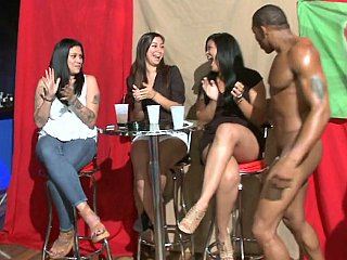 lubricious lasses engulf male strippers
