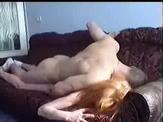 redhead Russian granny messed up in living room by diaper lover chap