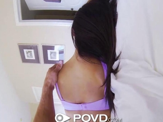 POVd secret striptease in berth from brunette
