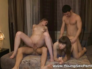 two sweet sex-violent juveniles invite a couple of horny guys
