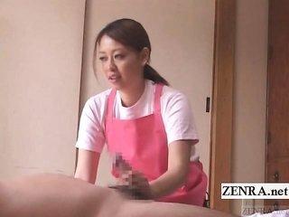 Subtitled CFNM japanese caregiver elderly existent handjob