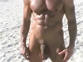 70 year old bodybuilder on stripped beach