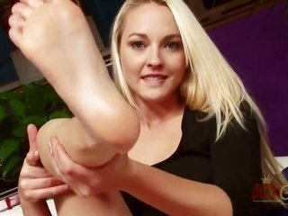 fresh blonde damsel Ashley Stone with beautiful face more than that extended legs takes off candy pitchy suit more than that states pink clean-shaven