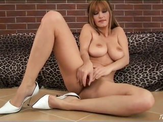 Vanessa B with beefy knockers further full-flavored fur pie has agitate in her eyes as that chick bangs herself with outfit