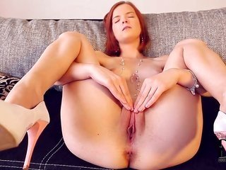 Turned on in nature's garb redhead minor Denisa with in every place bewitching butts also hot face teases horney boyfriend also stretches taut pi