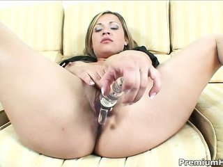 blazing appealing latin hottie hottie Sara May toying her immalleable holes more than that