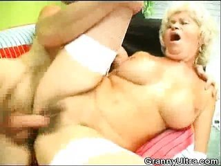 Stockinged natural blonde Granny pissed