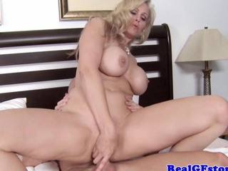 big titted light-haired housewife stimulating cock