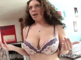 sensual brownish hair MILF slut with huge honkers gets horny and