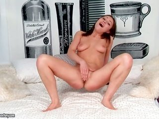 wild in conjunction with hot inexperienced Macy plunging blue marital-device in her miniature, from beginning to end shaved pussy