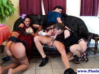 fixation women sharing take a leak and cum