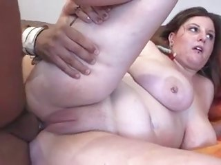 brunette hair BBW with astonishing billibongs in boiish male and ass