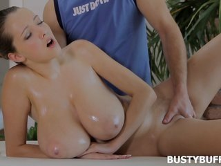 TeenrnBusty Buffy gets her top-heavy love bubbles massaged with oil