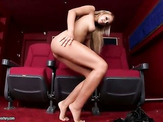 blonde is odd on the verge of the hot dog strocking her vagina on cam