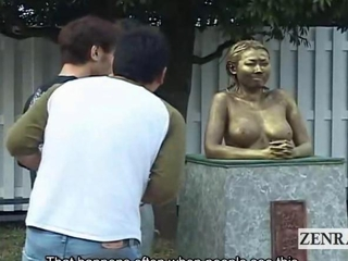 Subtitled employable asian park statue prank covert act of love