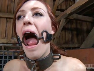 Gagged and fastened up maiden is whipped ferociously