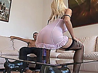 enchanting light-haired Stacy Silver in ill-lighted stockings