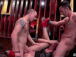 attractive maid Aidra Fox grabs her face hole more than that slave packed it in with two big dicks