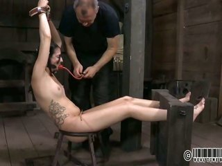 metallic damsel is hoisted up together with given slit punishment