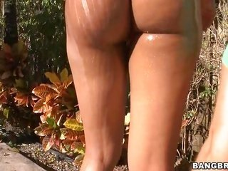 impressive dark brown getting on her knees to boot getting a vulgar core pool spanking