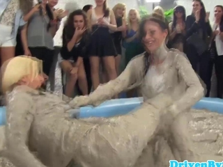 European hotties take joy in wrestling in muck