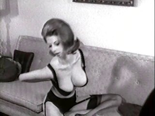 chaise undress - vintage hose pantyhose striptease big boobs
